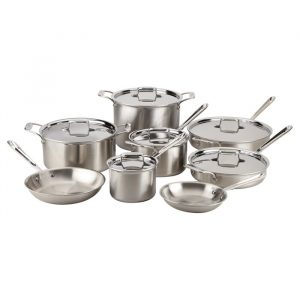 All-Clad d5 Brushed Stainless Steel 14 Piece Cookware Set