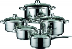 ELO Skyline Stainless Steel Kitchen Induction Cookware Pots and Pans Set with Air Ventilated Lids